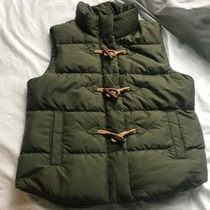J Crew size M green vest with cute toggles